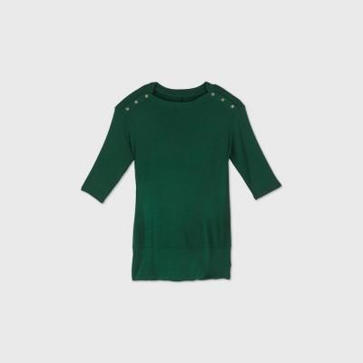 Maternity 3/4 Sleeve Snap Shoulder Sweatshirt - Isabel Maternity by Ingrid & Isabel™ Green XXL