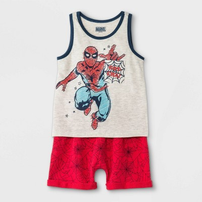 Toddler Boys' 2pc Spider-Man Americana Knit French Terry Top and Bottom Set - Heather Oatmeal