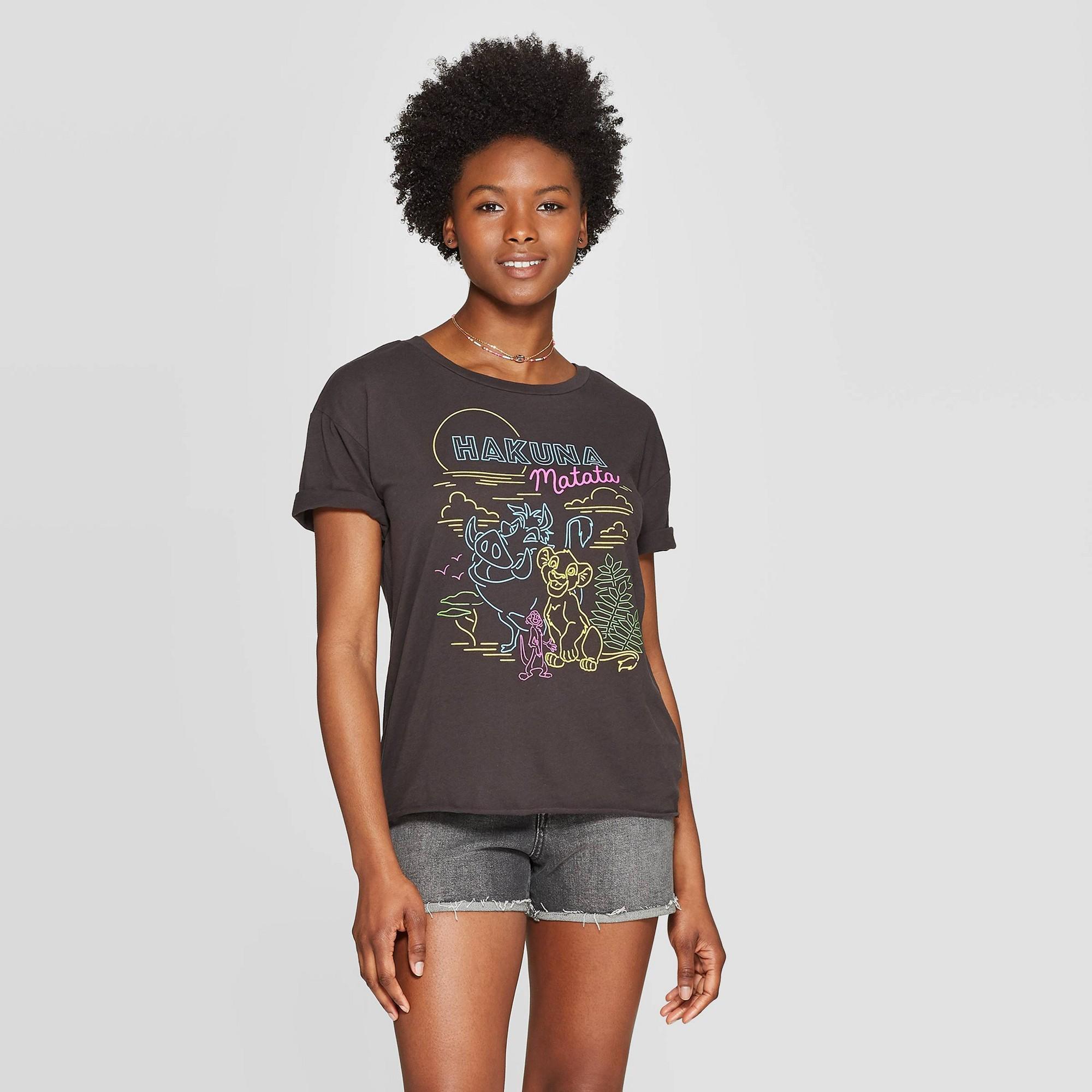 Women's Disney The Lion King Hakuna Matata Short Sleeve Neon Graphic T-Shirt - (Juniors') - Black S