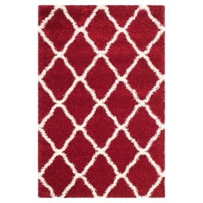Red/Ivory Geometric Shag/Flokati Loomed Area Rug - (4'X6')- Safavieh®