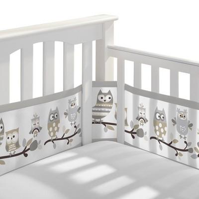 BreathableBaby® Mesh Crib Liner - Owl Fun - Gray