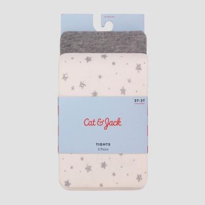 Baby Girls' 2pk Star Mid-Rise Tights - Cat & Jack™ Cream 12-24M
