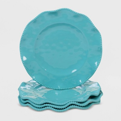 "11"" 4pk Melamine Perlette Dinner Plates Teal - Certified International"