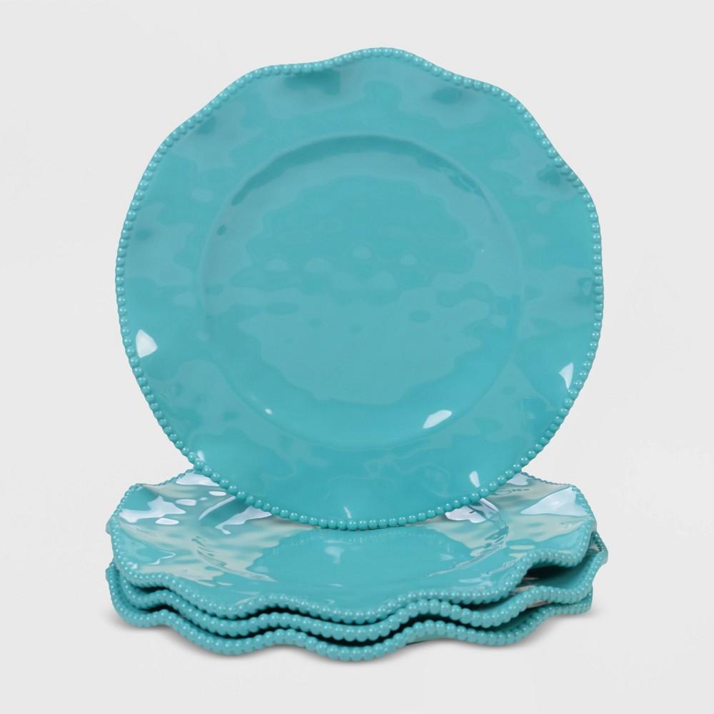 Image of 11 4pk Melamine Perlette Dinner Plates Teal - Certified International