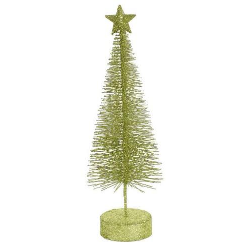 "Vickerman 8"" Unlit Set of 2 Artificial Christmas Trees Table Top Green Kiwi Glitter Sisal - image 1 of 1"
