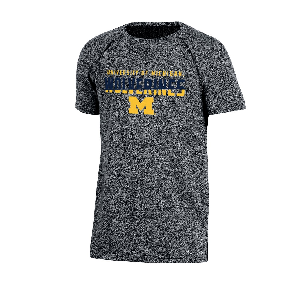 Michigan Wolverines Boys Short Sleeve Crew Neck Raglan Performance T-Shirt - Gray Heather M, Multicolored