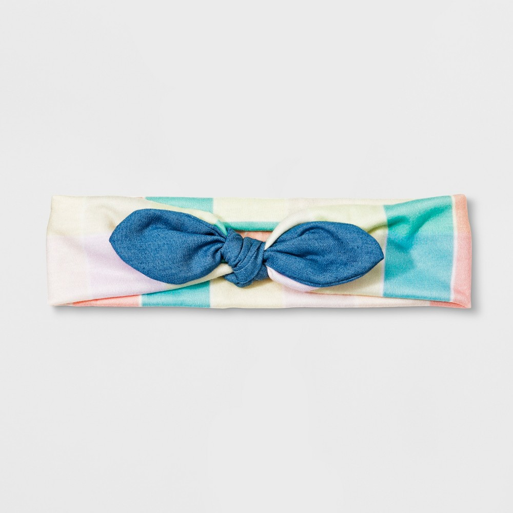 Girls' Plaid Chambray Headwrap - Cat & Jack, Multi-Colored