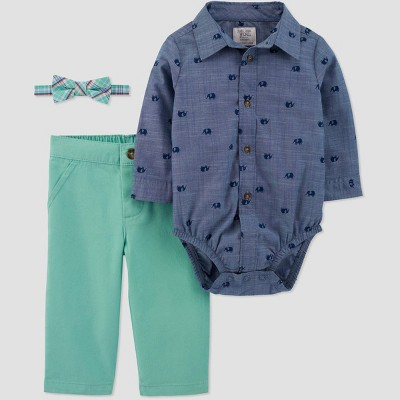 Baby Boys' Shifley Chambray Top with Bowtie Suspender Set - Just One You® made by carter's Blue/Green 6M