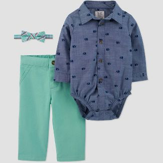 Baby Boys' Shifley Chambray Top with Bowtie Suspender Set - Just One You® made by carter's Blue/Green 12M