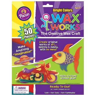 Creativity Street Wax Works Non-Toxic Non-Flammable Reusable Wax Craft Stem, 10 in, Assorted Bright Color, pk of 50