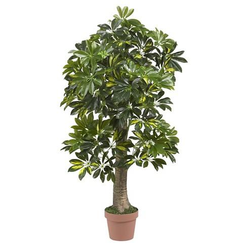 Nearly Natural Schefflera Silk Tree Green Real Touch 4