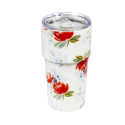Evergreen Flag Double Wall Ceramic Companion Cup with Tritan Lid, 13 OZ, Wild Flowers