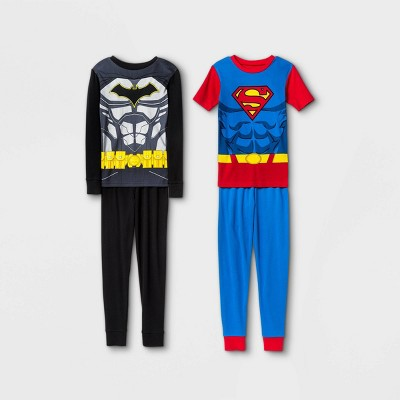 Boys' Justice League 4pc Pajama Set - Black/Red/Blue