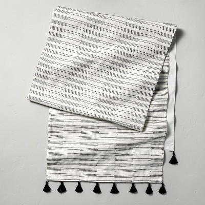 Oversized Broken Stripes Tassel Table Runner Black/Sour Cream - Hearth & Hand™ with Magnolia