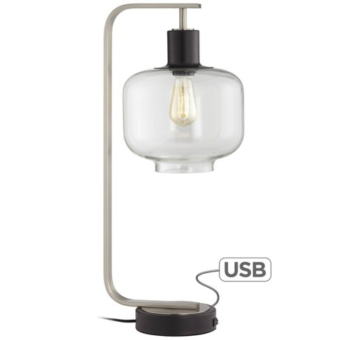 Franklin Iron Works Farmhouse Industrial Table Lamp With Usb Charging Port Brushed Nickel Glass Shade For Bedroom Bedside Office Target