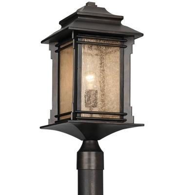 "Franklin Iron Works Rustic Outdoor Post Light Walnut Bronze Vintage 21 1/2"" Frosted Cream Glass Lantern for Exterior Garden Yard"