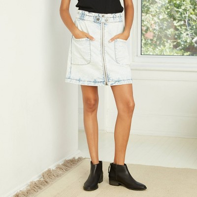 Women's High-Rise Paperbag Denim Skirt - Universal Thread™