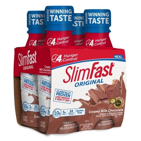 Slimfast Original Meal Replacement Shakes Creamy Milk Chocolate 11 Fl Oz 4pk