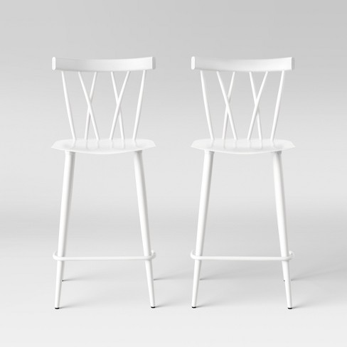 Astounding Set Of 2 Becket Metal X Back Counter Stool White Project 62 Pabps2019 Chair Design Images Pabps2019Com