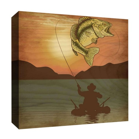 "Fishing Man I Decorative Canvas Wall Art 16""x16"" - PTM Images - image 1 of 1"