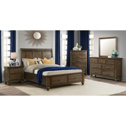 3pc 2-Drawer Storage Bedroom Set Walnut - Picket House Furnishings