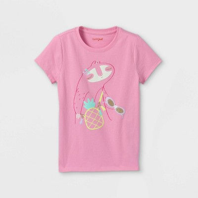 Girls' Fashionable Sloth Graphic Short Sleeve T-Shirt - Cat & Jack™ Peony Pink