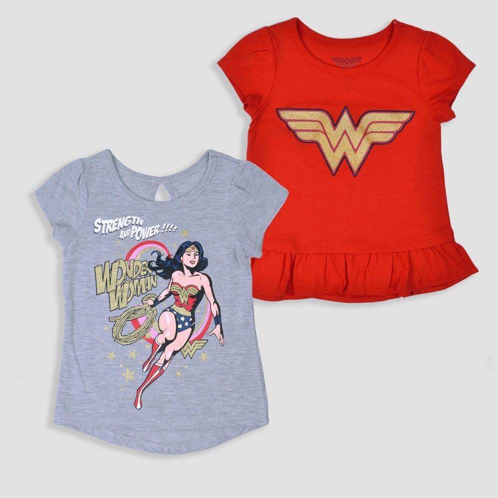Toddler Girls' 2pk DC Comics Wonder Woman Short Sleeve T-Shirt - Red 2T, Gray Red
