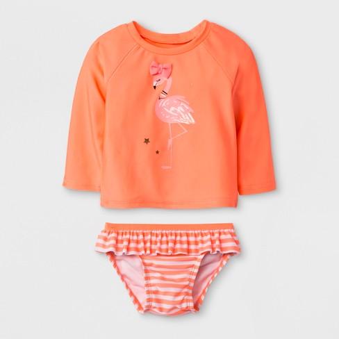 6e2113deb46a5 Baby Girls' Long Sleeve Flamingo Rash Guard Set - Cat & Jack™ Peach ...
