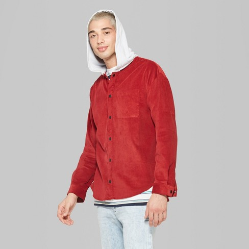 22434a9fc6c Men s Casual Fit Long Sleeve Corduroy Hooded Button-Down Shirt - Original  Use™ Majesty Red L   Target