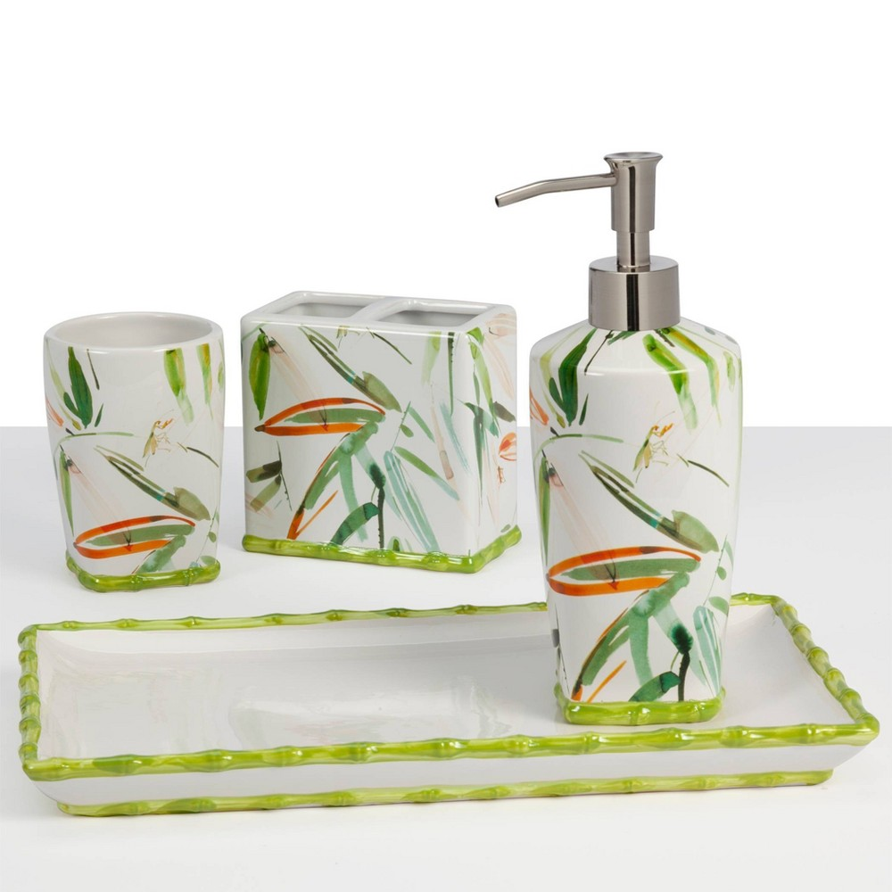 Image of 4pc Fiji Bath Collection White/Green - Creative Bath