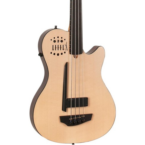 Godin A4 Ultra Natural Fretless SA Acoustic-Electric Bass Guitar Natural Ebony Fretboard - image 1 of 2