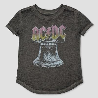 Toddler Girls' AC/DC Burnout Short Sleeve T-Shirt - Black 12 Months