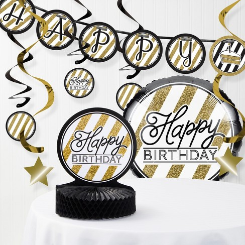 Black And Gold Birthday Party Decorations Kit Blackgold Target
