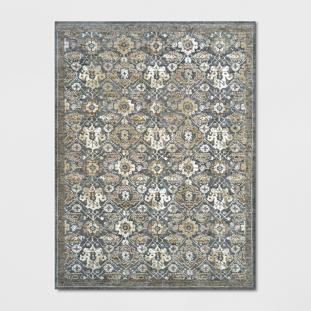 9'x12' Floral Woven Area Rug Gray - Threshold