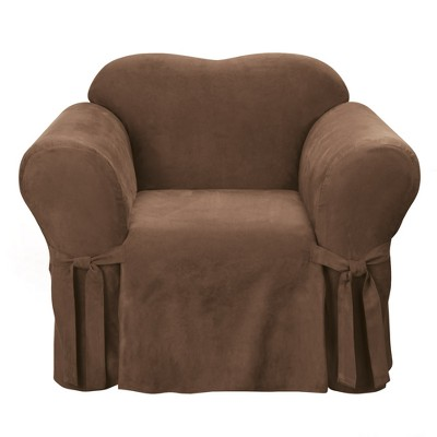 Soft Suede Chair Slipcover Chocolate - Sure Fit
