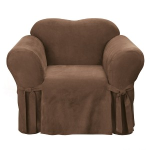 Soft Suede Chair Slipcover Chocolate - Sure Fit, Brown
