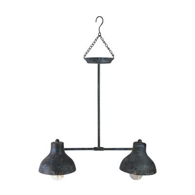 "Northlight 19.75"" Blue and Black Distressed Decorative Lighted Hanging Lantern"