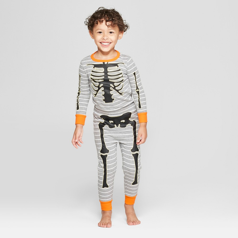 Snooze Button Toddler Skeleton Pajama Set - Gray 3T, Toddler Unisex