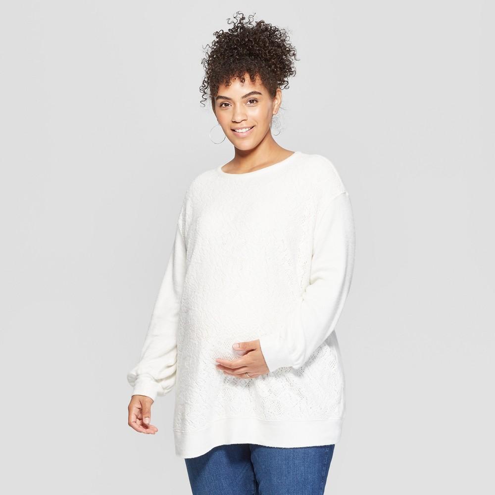 Maternity Plus Size Fleece Lace Front Sweatshirt - Isabel Maternity by Ingrid & Isabel White 2X, Women's