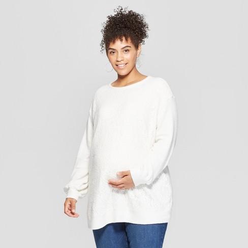 6d14ba8f651 Maternity Plus Size Fleece Lace Front Sweatshirt - Isabel Maternity by  Ingrid   Isabel™ White