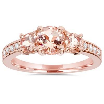 Pompeii3 1 1/2CT Morganite & Diamond 3-Stone Engagement Ring 14K Rose Gold