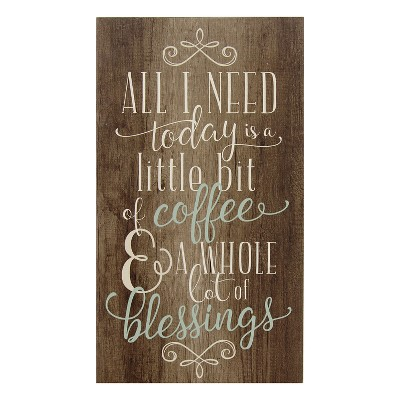 """8"""" x 14"""" Coffee and Blessings Wall Art Brown - Stratton Home Décor"""