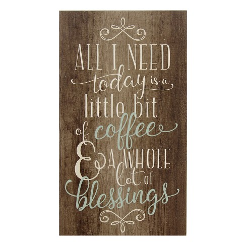 "Stratton Home Decor 14""x8"" Coffee and Blessings Decorative Wall Art Set Wood - image 1 of 4"