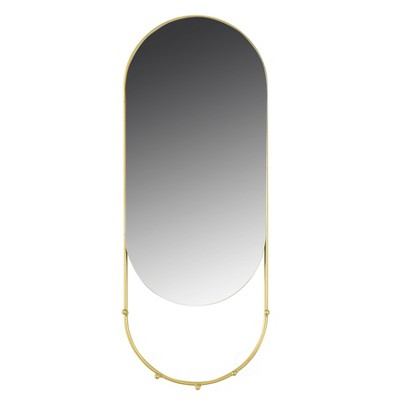 Fabulaxe Modern Gold Oval Metal Hanging Rounded Wall Mirror with Jewelry Hooks