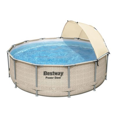 Bestway 5614UE 13 Foot x 42 Inches Power Steel Frame Above Ground Backyard Swimming Pool Set with Filter Pump, Ladder, Cover, and Canopy
