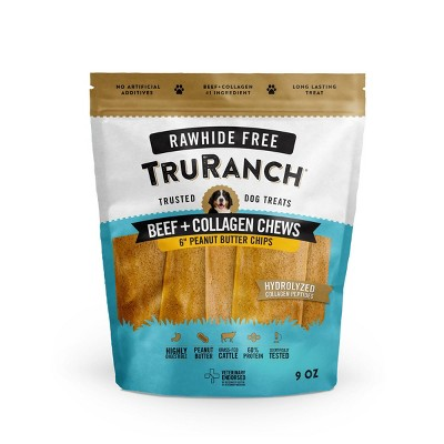TruRanch Collagen Peanut Butter Chips Rawhide Free Dog Treats - 9oz