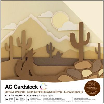 "American Crafts Variety Cardstock Pack 12""X12"" 60/Pkg-Neutrals"