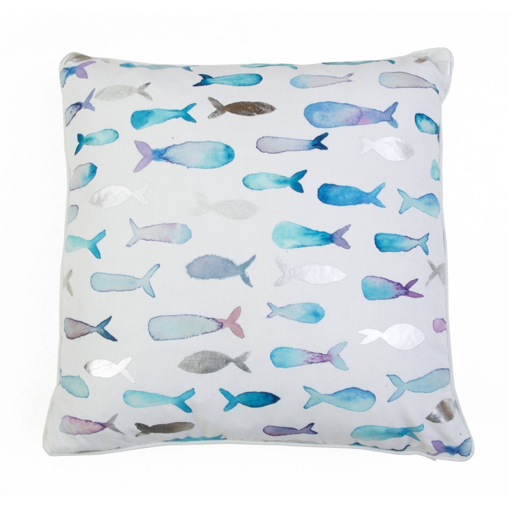 "Image of ""Décor Therapy 20""""x20"""" Farrish Fish Throw Pillow White/Blue, White Blue"""