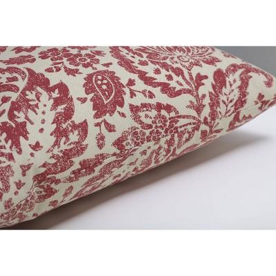 Red/Tan Floral Damask Throw Pillow - Pillow Perfect : Target