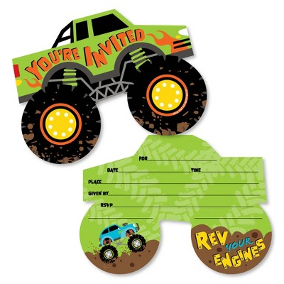 Big Dot of Happiness Smash and Crash - Monster Truck - Shaped Fill-In Invitations - Boy Birthday Party Invitation Cards with Envelopes - Set of 12
